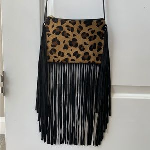 Topshop Leather Crossbody Bag with Suede Fringe